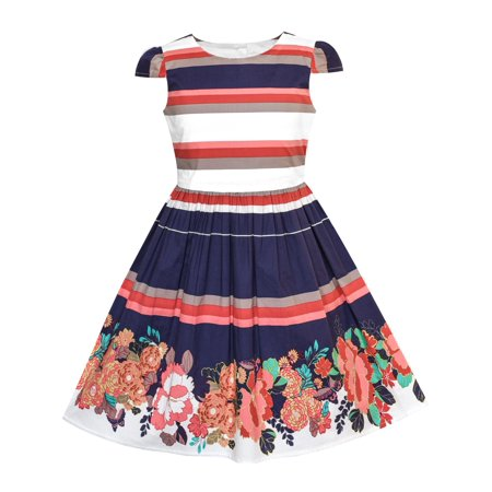 Girls Dress Stripe Flower Cap Sleeve Cotton Dress 2