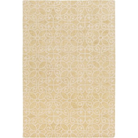 Surya SCT1007-576 Yellow Scott 5' X 8' Rectangle Wool Hand Hooked Damask Area Rug Damask Loop Hooked Rug