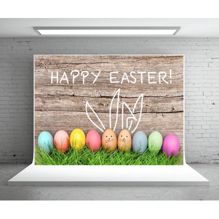 HelloDecor Polyster 7x5ft Grey Wood Easter Photography Backdrops Colorful Eggs Photo Booth Background for Parties Photo Booth - Cheap Backdrops For Parties