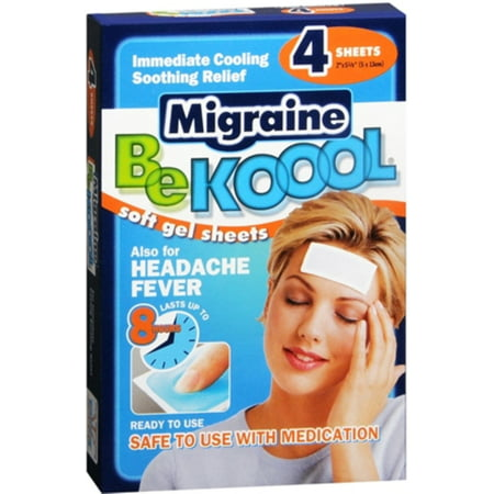 Be Koool Migraine Soft Gel Sheets For Adults 4 Each (Pack of 2) Be Koool Gel Sheets