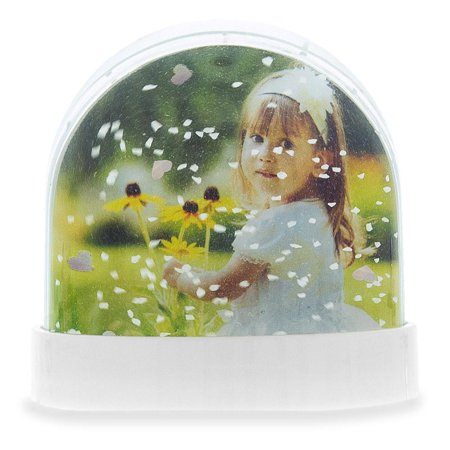 Insert your Own Picture Frame Snow Globe with White Base 3.5 Inches