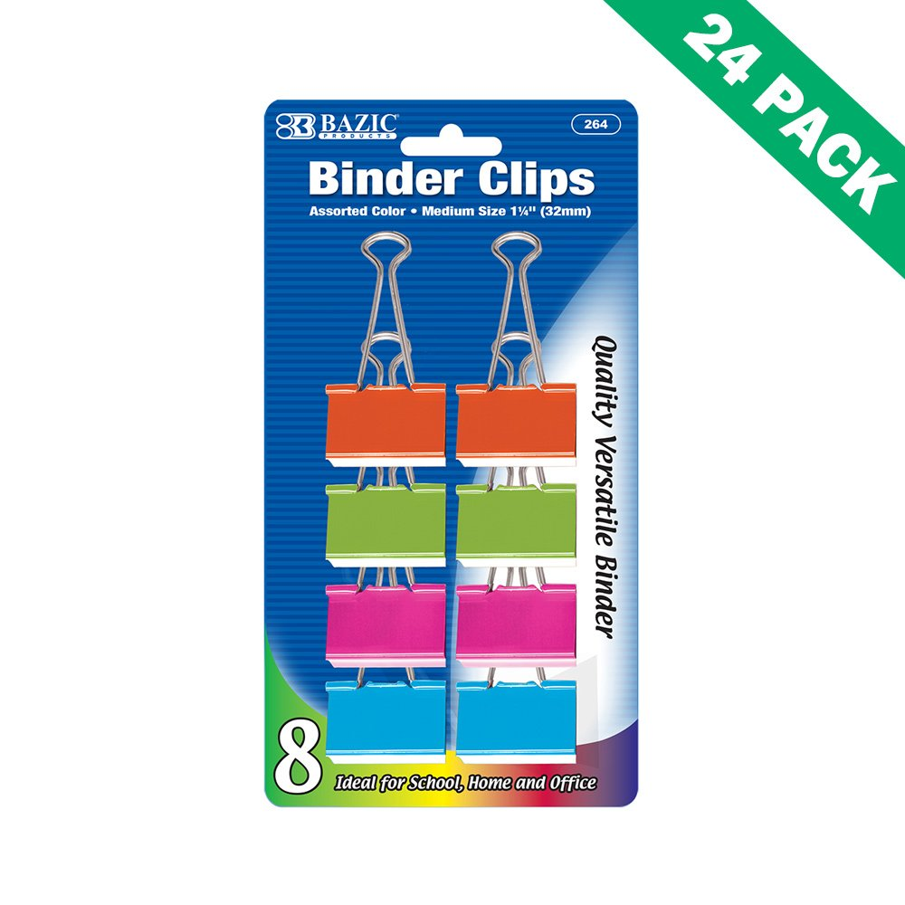 Colorful Binder Clips, Medium 1-1/4 In Paper File Binder Clips Office -set Of 24
