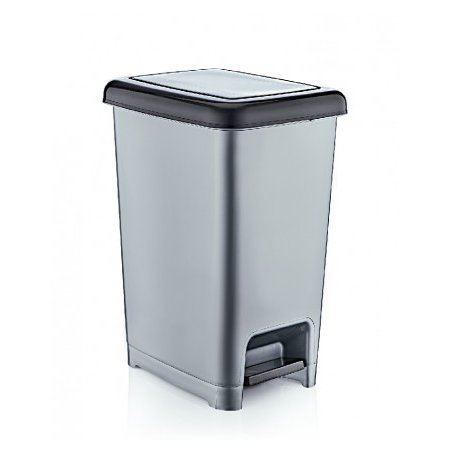 Superio Slim Pedal Trash Can, 26 Qt. (Grey) - image 1 of 1