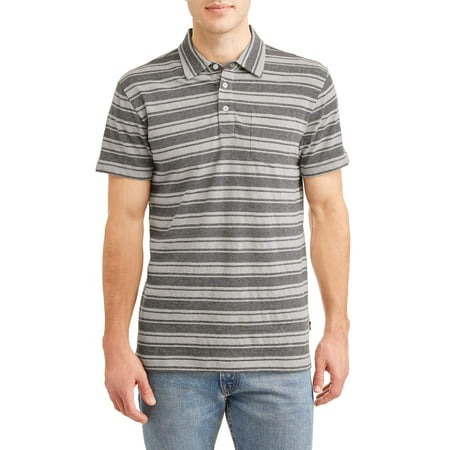 Custom Fit Stripe Polo - Lee Men's Short Sleeve Textured Striped Polo Shirt