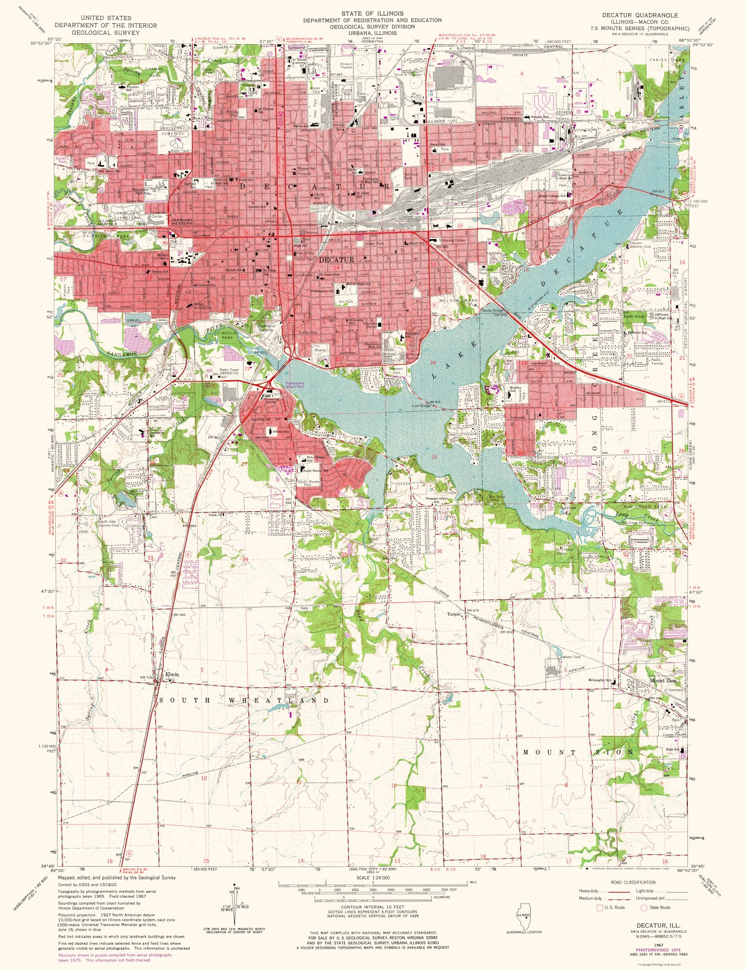 Decatur Illinois Map.Topographic Map Decatur Illinois Quad Usgs 1975 23 X 29 90