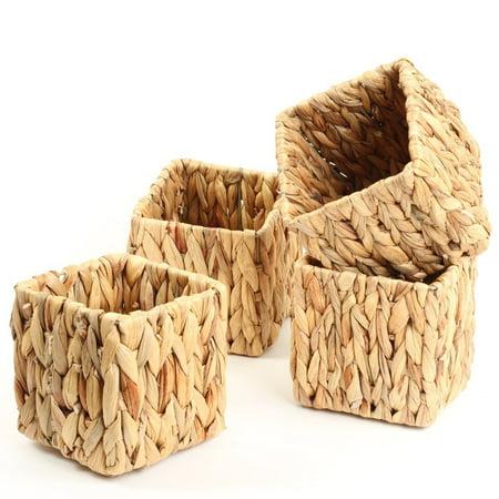 Hyacinth Pack - Koyal Wholeslae Natural Water Hyacinth Vases, 4-Inch Cube Plant Baskets, Set of 4,  Bins, Tropical Wedding Centerpiece