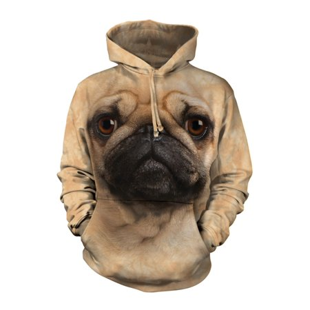 Tan Cotton Blend Pug Face Awesome Animal Hoodie Cool (Medium) NEW ()