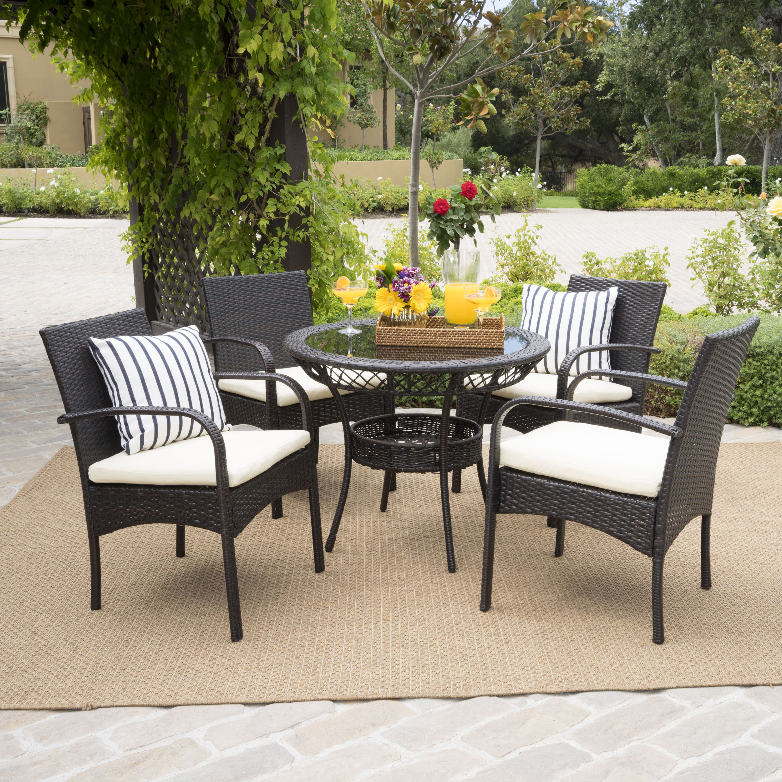 Venetian 5 Piece Outdoor Round Glass Top Wicker Dining Set with Cushions, Multibrown