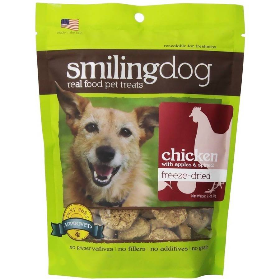Herbsmith Smiling Dog Freeze-Dried Treats, Chicken with Apples and Spinach