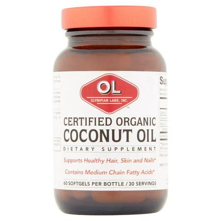 Olympian Labs Noix de coco certifié biologique Huile Complément alimentaire, 60 count