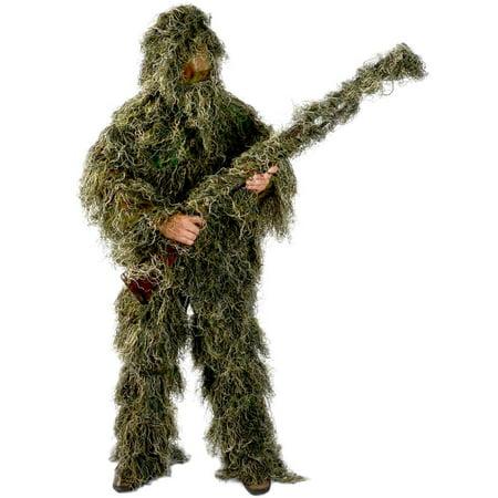 Woodland Ghillie Suit - Ghillie Suit Men's 5 Piece Supreme Woodland Camo Ghillie Medium/Large Green