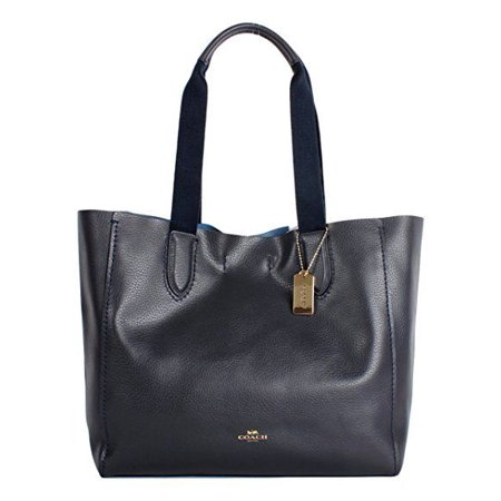 New Coach F58660 Midnight Lapis Blue Pebble Leather Derby Tote Handbag Bag