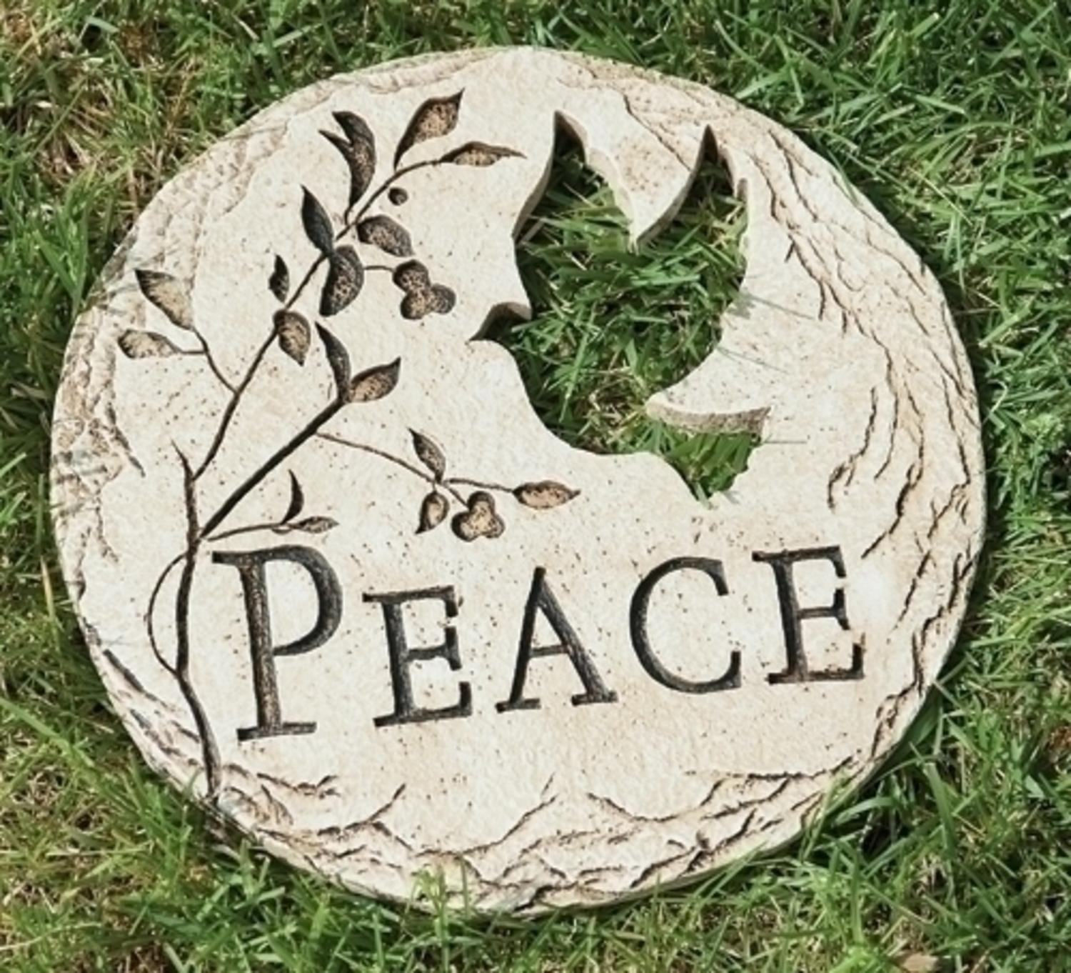 "12"" Dove Bird Cut-Out ""Peace"" Decorative Garden Patio Stepping Stone"