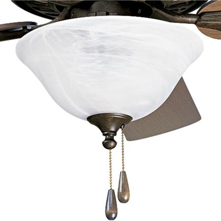Progress Airpro - Three Light Ceiling Fan Kit, Weathered Bronze Finish with Alabaster Glass