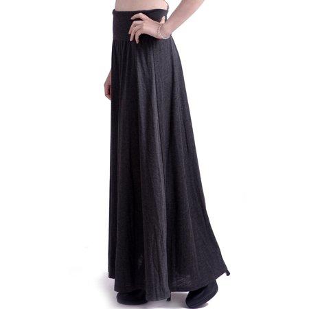 24e5330f888e HDE Women's High Waisted Foldover Long Maxi Skirt Fall Collection (Dark  Gray, ...