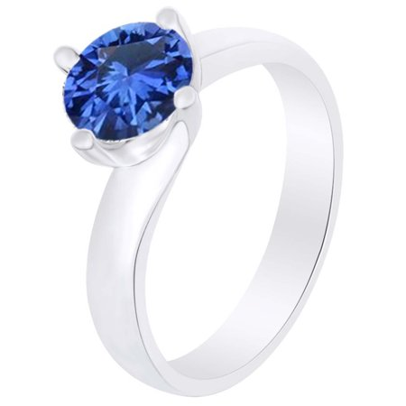 Round Simulated Blue Sapphire Solitaire Ring 1 Cttw 14k White Gold Over Sterling Silver-9.5