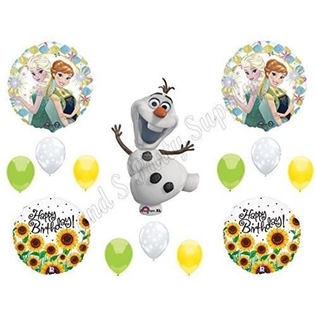 FROZEN FEVER SUNFLOWERS Olaf Happy Birthday Balloons Decoration Supplies Summer Elsa Anna by Anagram - Olaf Birthday