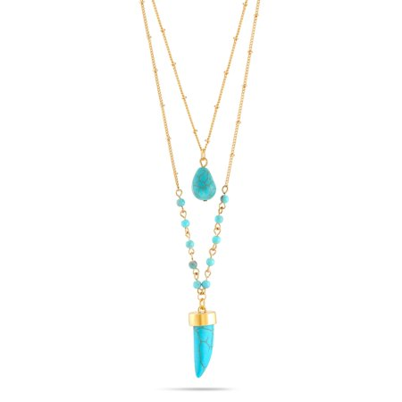 TAZZA WOMEN'S GOLD-TONE TURQUOISE LAYERED HORN (Chanel Turquoise Necklace)