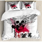 Skull Duvet Cover Set, Grunge Wings and Skulls with Signs Color Stains Background Punk Style Artwork, Decorative Bedding Set with Pillow Shams, Black Pink White, by Ambesonne