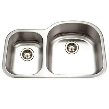 - 32.5 x 20.75 in. Medallion Designer Series Undermount Stainless Steel 70 - 30 Double Bowl Kitchen Sink, Small Bowl Left