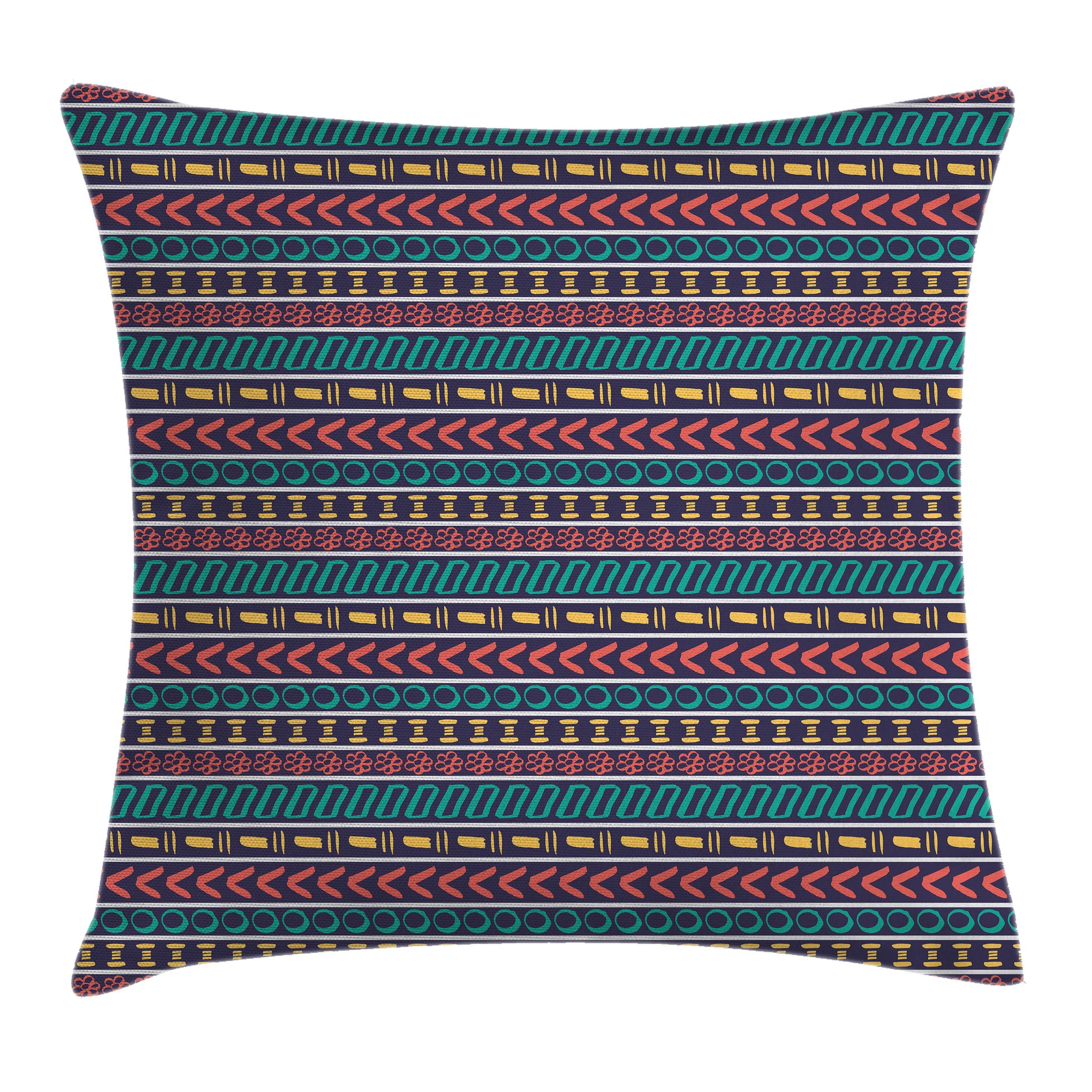 Striped Throw Pillow Cushion Cover Native American Indian Aztec Style Navajo Pattern With Geometric Trippy Forms Art Print Decorative Square Accent