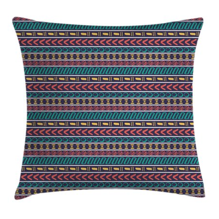 Striped Throw Pillow Cushion Cover, Native American Indian Aztec Style Navajo Pattern with Geometric Trippy Forms Art Print, Decorative Square Accent Pillow Case, 18 X 18 Inches, Multi, by Ambesonne ()