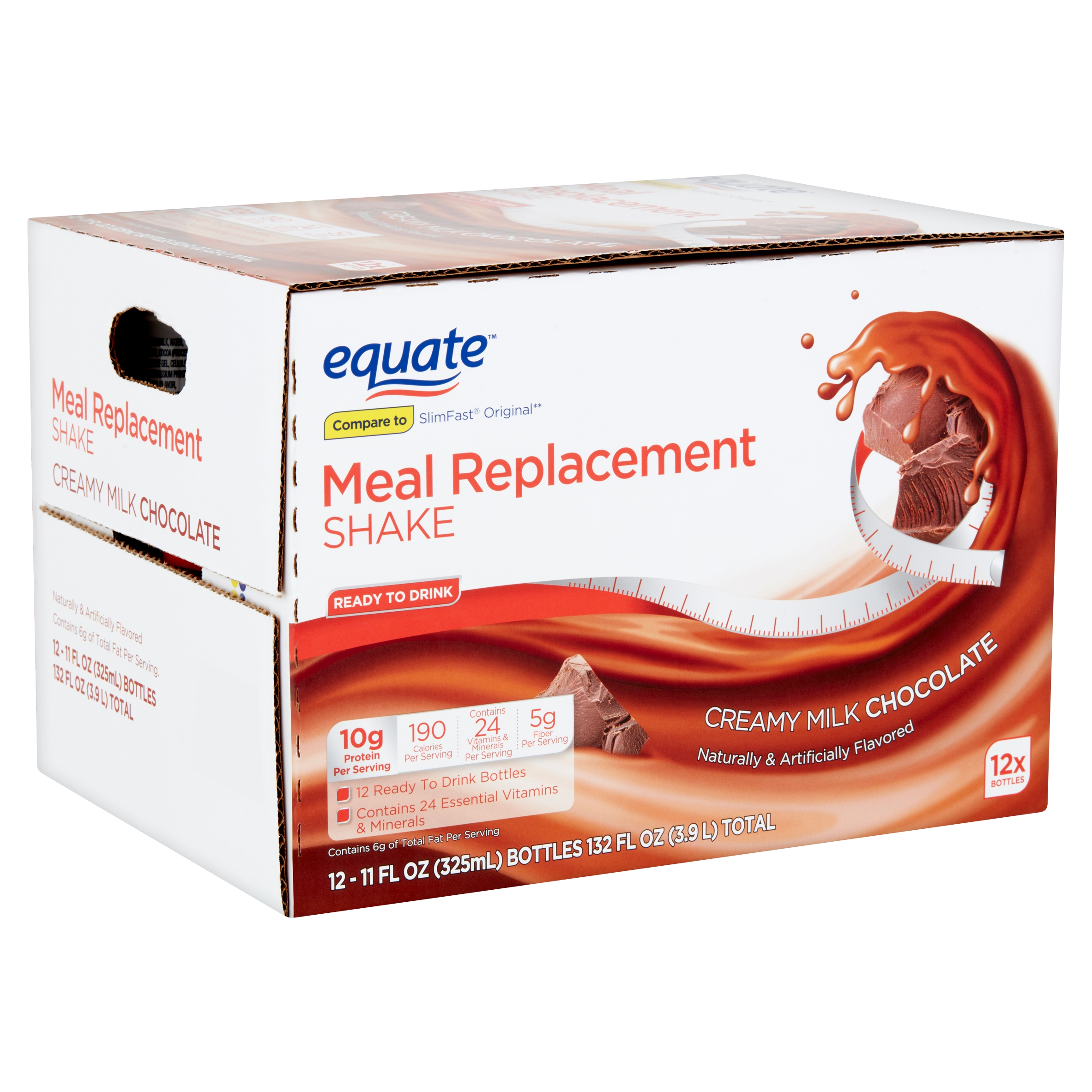Equate Creamy Milk Chocolate Meal Replacement Shake, 11 fl oz, 12 count