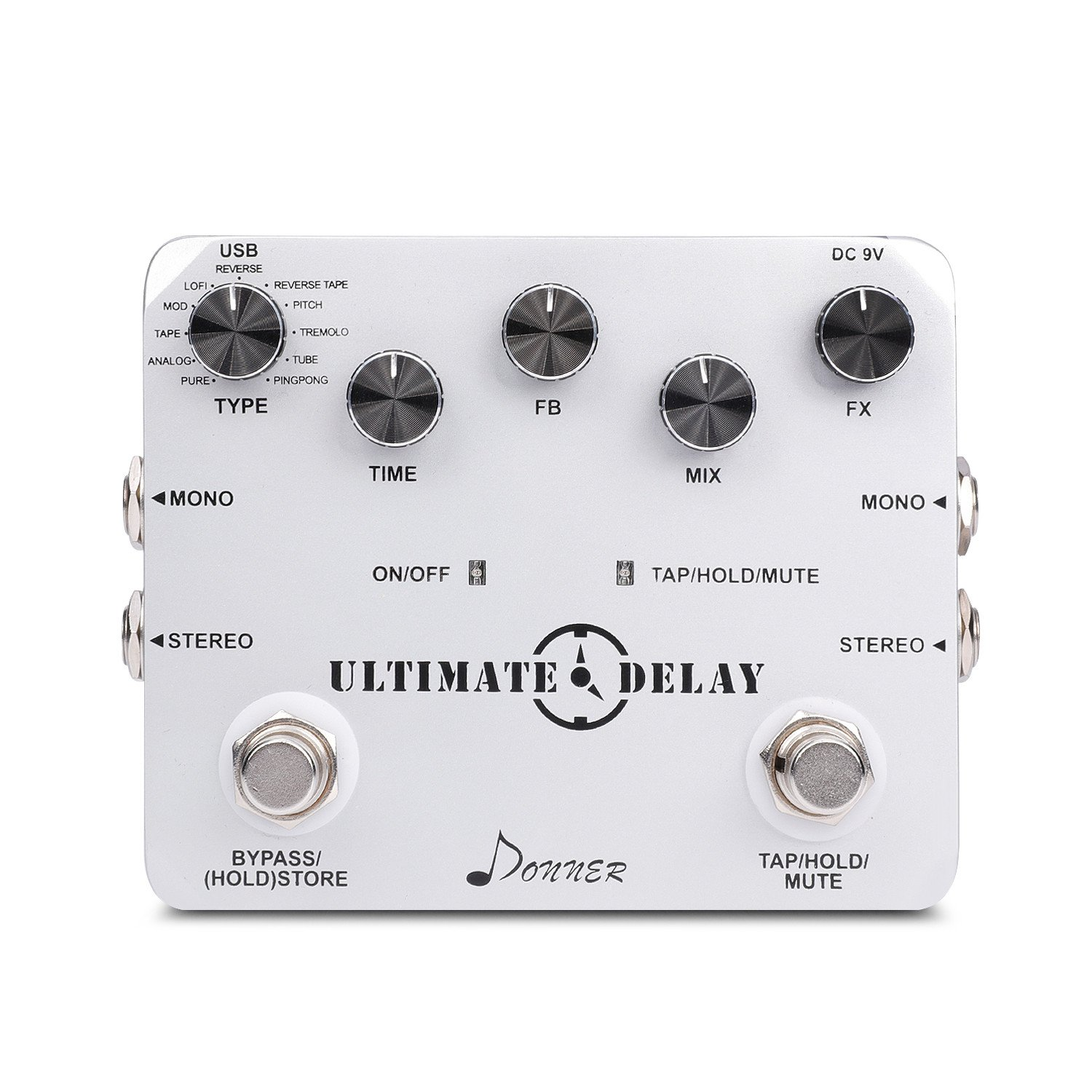 Donner Ultimate Delay Bass Guitar Effect Pedal Stereo 11 Mode by Donner