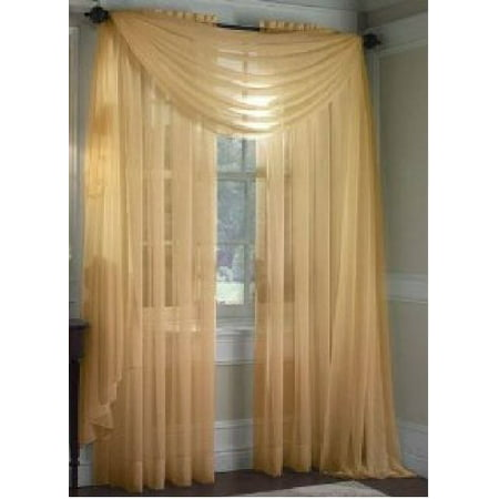 MONAGIFTS GOLD Scarf Voile Window Panel Solid sheer valance curtains 216 LONG by, Sheer Scarf Valance By Jenin (216 Sheer Scarf)