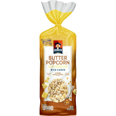 (2 Pack) Quaker Rice Cakes, Butter Popcorn, 4.47 oz. Bag Dark Chocolate Rice Cakes