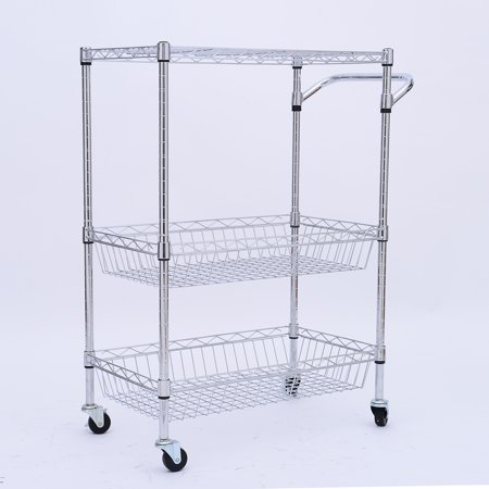 Homcom 24 Portable Rolling Trolley Kitchen Cart With Wire
