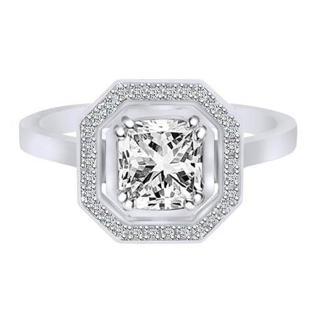 0.85 Carat (Ctw) Asscher & Round Cut White Natural Diamond Halo Engagement Ring 14K White Gold-4