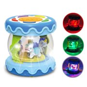 Hanmun Baby Drum Instrument Music Toys - Mini Carousel Musical Drum Activity Toy Early Educational Toys for Baby Infants ages 6 - 12 months, Electronic Instruments with Music and Lights for Toddlers