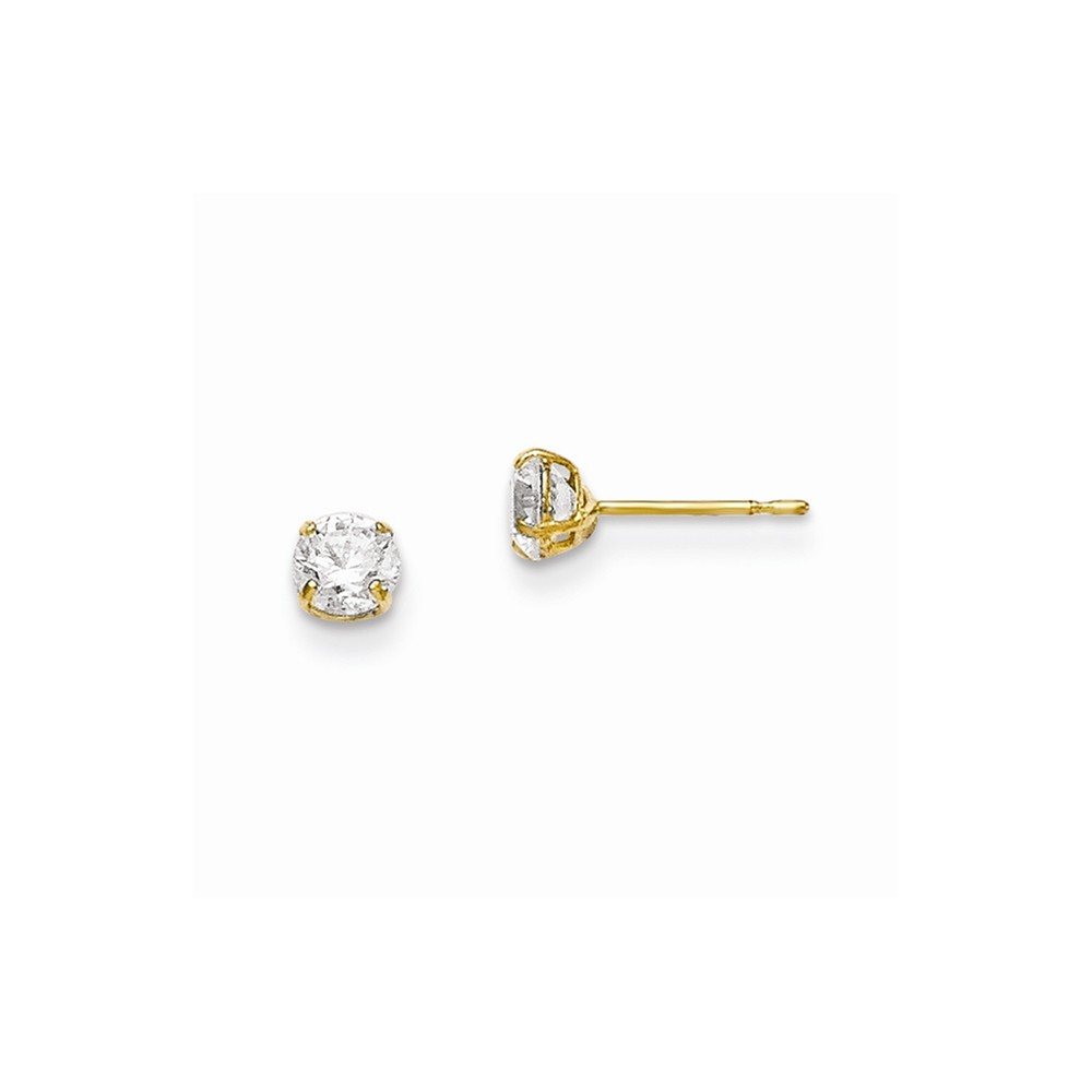 Wellingsale 14K Yellow Gold Polished 8mm Round Solitaire Basket Style Prong Set Stud Earrings With Pushback