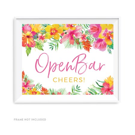 Tropical Floral Garden Party Wedding Party Signs, Open Bar Cheers!, 8.5x11-inch](Open Bar Wedding)