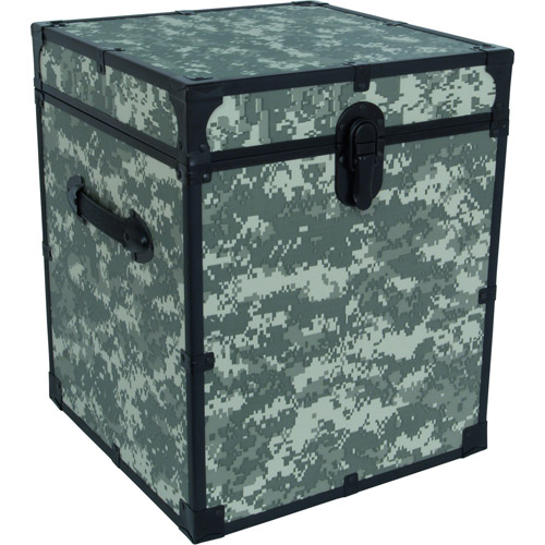 Seward Trunk Collegiate Cube Collection Storage Footlocker Trunk 22 Gal. Wood Storage Box with Handles, ACU Camo