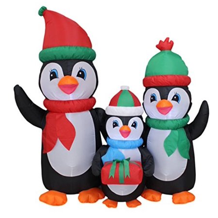 5 foot tall lighted christmas inflatable penguins family with gift led yard art decoration Inflatable Christmas Lights