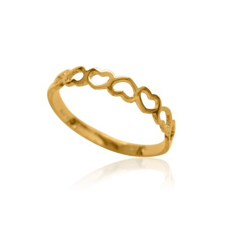 Children's 10k Solid Yellow Gold Open Heart Baby Ring Size 3.5 10k Yellow Gold Baby Ring