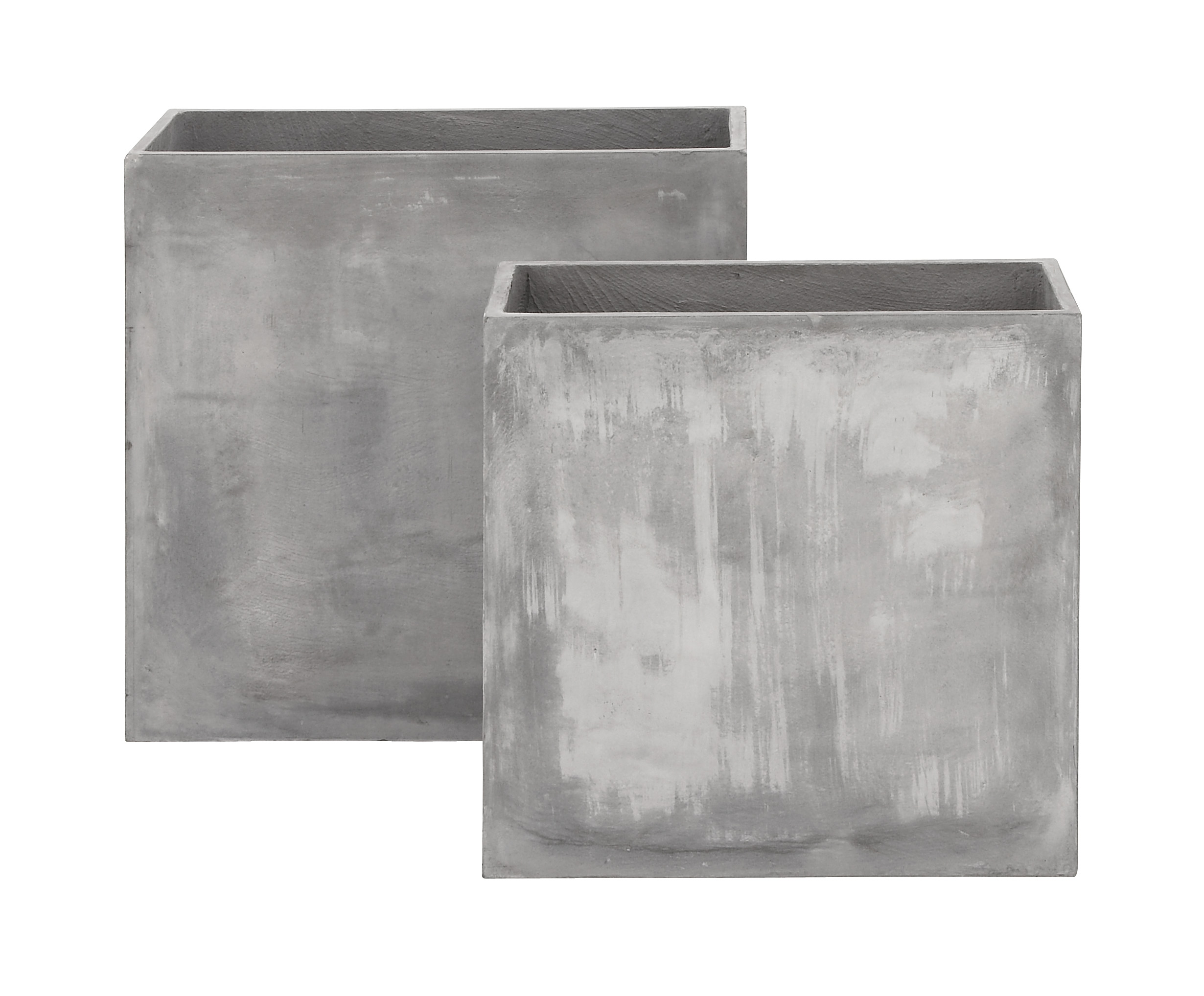 Decmode Set of Two 24 and 28 Inch Modern Fiber Clay Planters, Gray by DecMode