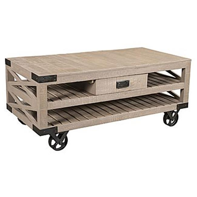 Style N Living IWHE- 47 Wheel Coffee Table with Tray Top - 20 x 25 x 47 in.