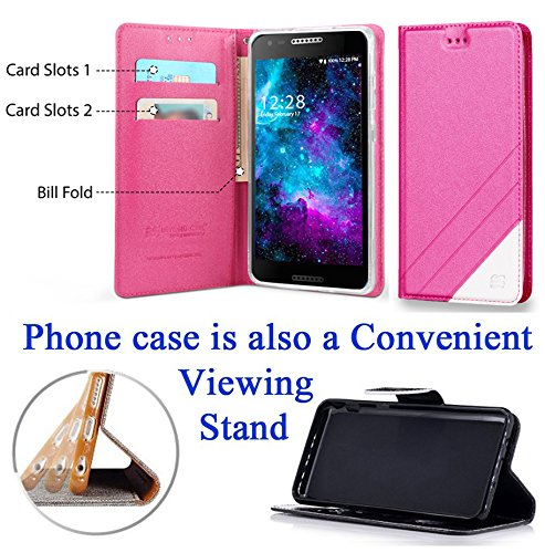 """for 5"""" Alcatel ZIP A30 KORA Case Fold Wallet Phone Case Hybrid Kick Stand Pouch Card Pocket Purse Screen Flip Cover Rose"""