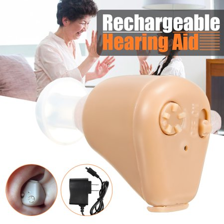 In Ear Mini Hearing Aids In visible Personal Sound Amplifier Adjustable Tone with 4 Ear Plugs FDA Approved