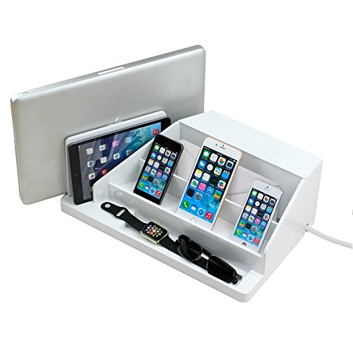 All-In-One Charging Station, Valet, and Desktop Organizer - White High Gloss with 6-Outlet AC Power Strip