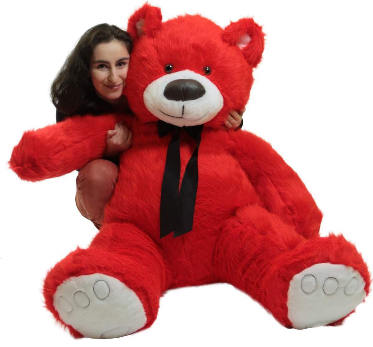 Giant Valentine Red Teddy Bear, Big Plush Soft Stuffed Animal Made in America by Big Plush