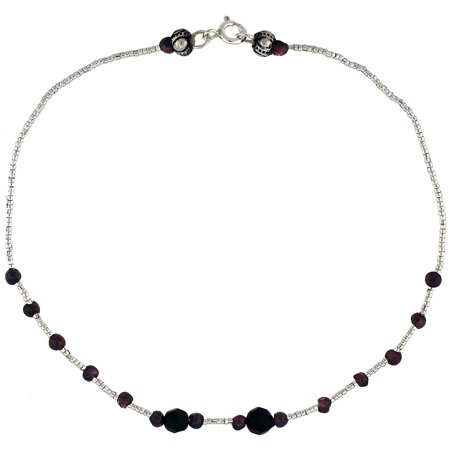 10 in. Sterling Silver Bead Anklet w/ Black Onyx Stones & Garnet Beads