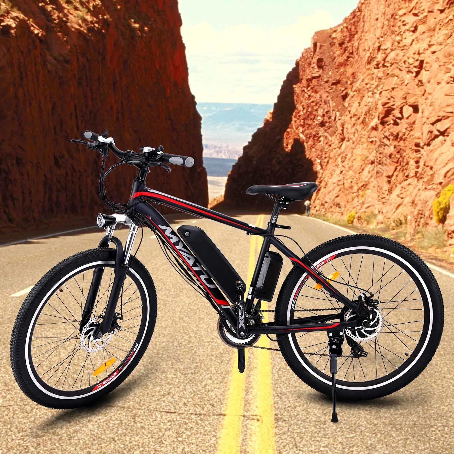 "ANCHEER Newest Designe Fast 26""21 Speed 36V Electric Mountain Bicycle for Adults with Removable Lithium-ion Battery Integrated Mens Electric Bike, With LED Handlebar Display, LED Headlight[US STOCK]"