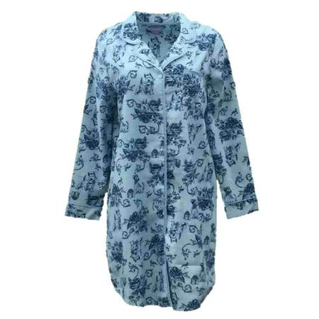 Ladies Flannel Nightgowns - Laura Scott Womens Blue Floral Dog Flannel Nightgown Sleep Night Shirt