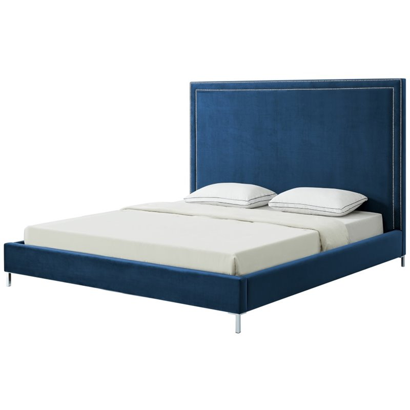 Brika Home Velvet Upholstered Queen Platform Panel Bed in Blue