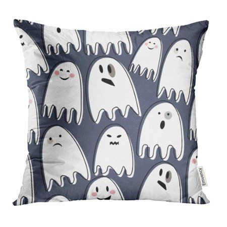 CMFUN Cute Spooky Ghosts on Dark Happy Halloween with Child Drawing Flat with Different Pillow Case Pillow Cover 16x16 inch Throw Pillow Covers (Cute Halloween Themed Drawings)