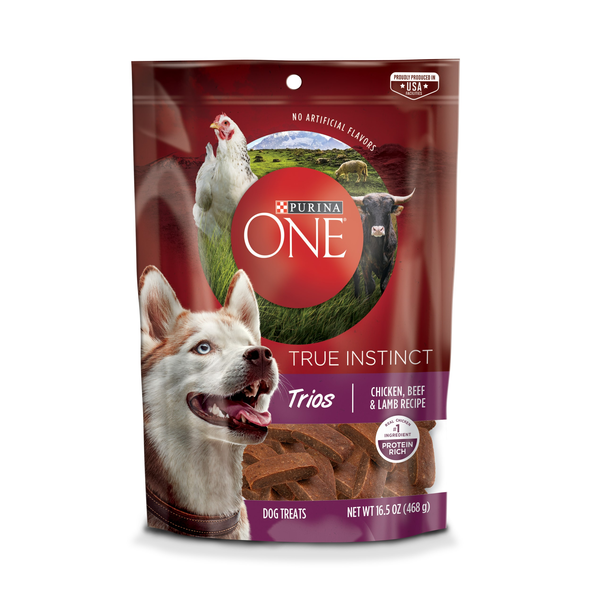 Purina ONE True Instinct Trios Chicken, Beef & Lamb Recipe Dog Treats, 16.5 oz. Pouch